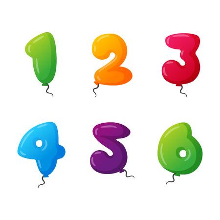 Balloon numbers vector set. Illustration