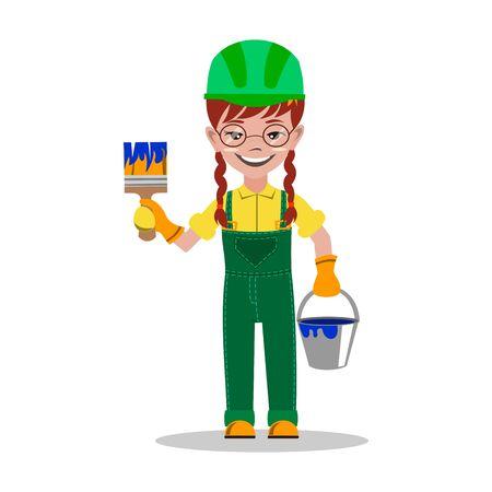 Girl builder character vector illustration Иллюстрация