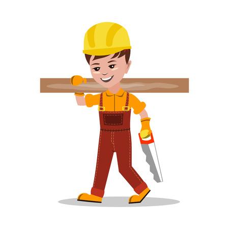 arquitecto caricatura: Niños constructor carácter ilustración vectorial Vectores