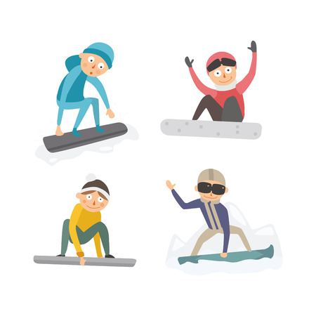 Snowboarder jump in different pose vector. Illustration