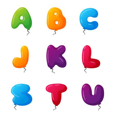 Balloon alphabet vector set.