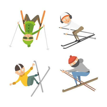 Skiing people tricks vector illustration. Stock Photo