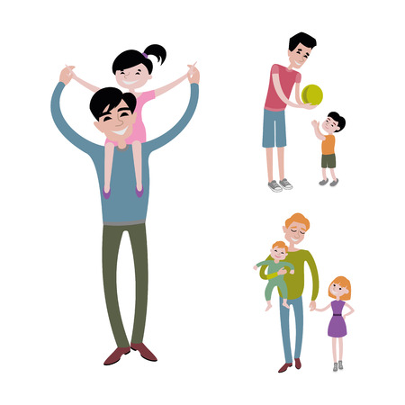 Father and kids together character vector.