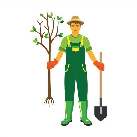 Gardener with trees flat vector.