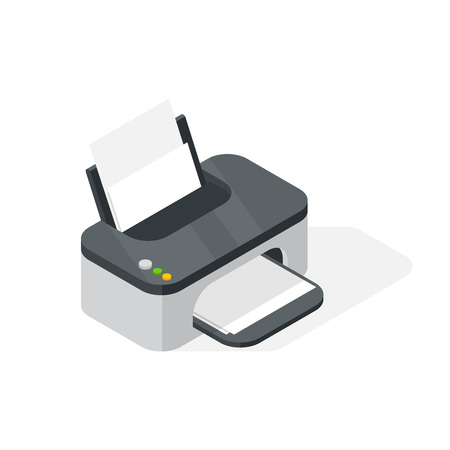 Realistic printer vector isometric illustration.