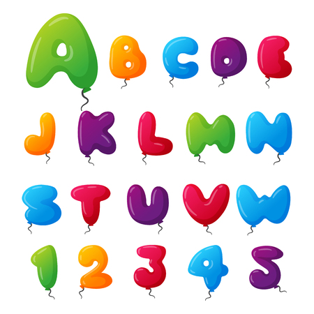Balloon alphabet vector set.