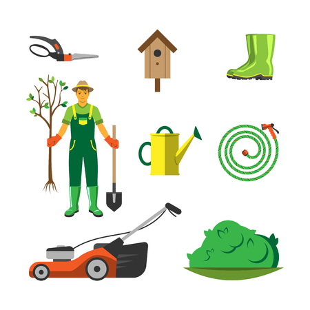 Garden equipment flat set vector. Illustration