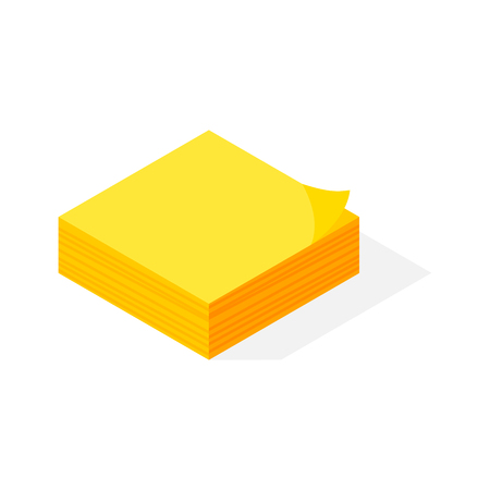 paper note: Isometric yellow sticker paper note vector.