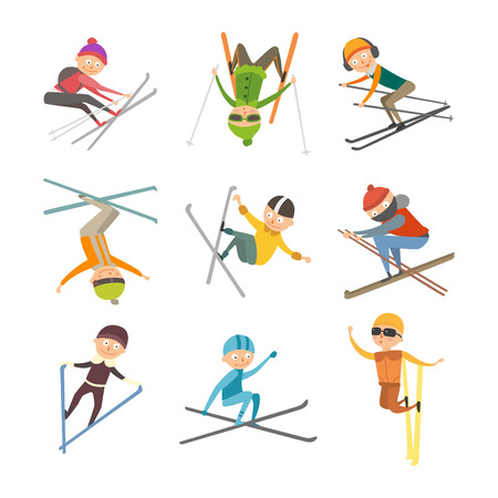 Skiing people tricks vector illustration. Illustration