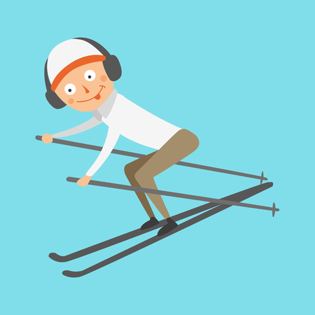 Skiing human trick vector illustration.