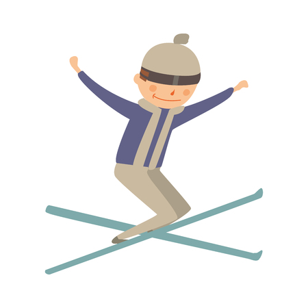 trick: Skiing human trick vector illustration.