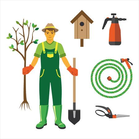 Garden equipment flat set vector. Illustration