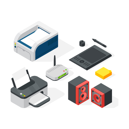 speakers: Isometric office equipment vector