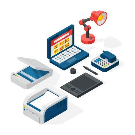 Isometric office equipment vector