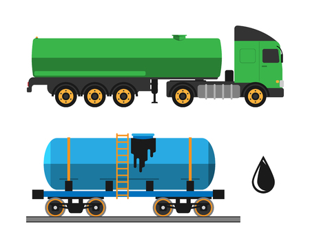 Oil extraction truck shipping and transportation vector illustration