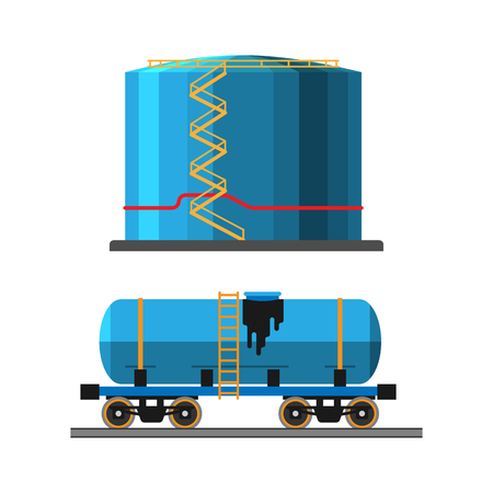 extraction: Oil extraction truck and container vector illustration