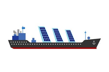 sun energy: Ship sun energy vector illustration.