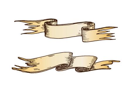 Hand drawn ribbons vector illustration. Illustration