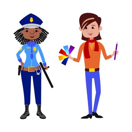 diferentes profesiones: Agente de policía y artista diferentes profesiones ilustración.
