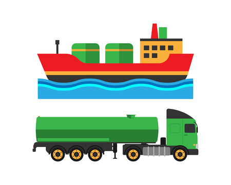 Oil extraction truck shipping and ship transportation illustration