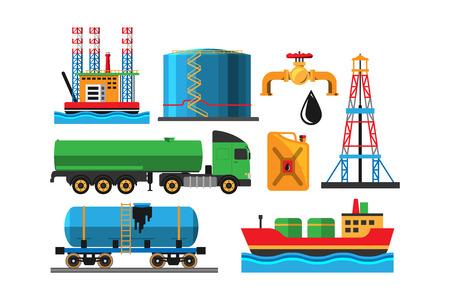 extraction: Oil extraction transportation illustration Illustration