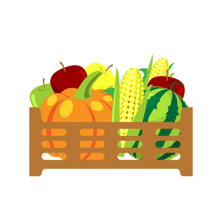 Fruits and vegetables in wicker basket illustration