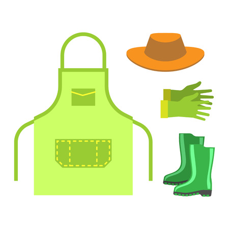 Garden apron and rubber boots isolated .