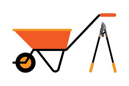 Construction wheelbarrow illustration. Illustration