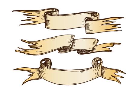 Hand drawn ribbons illustration.