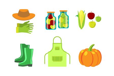 Conservation food and gardening tools vector illustration. Illustration