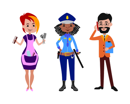 diferentes profesiones: People different professions vector illustration. Vectores