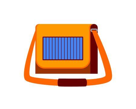 Female handbag with solar panel vector illustration.