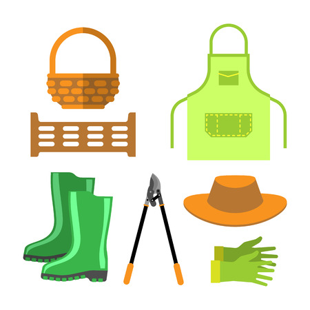 Blank apron and gardening tools isolated vector.
