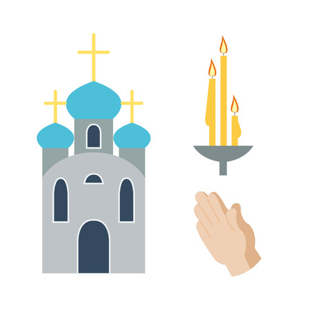 stained glass church: Religion icons vector illustration. Illustration
