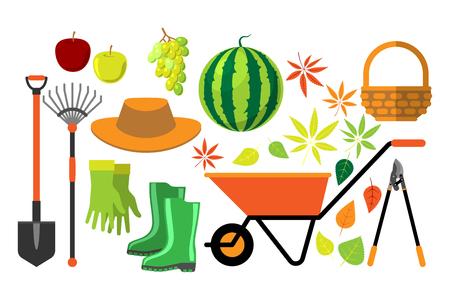Harvest flat vector set.
