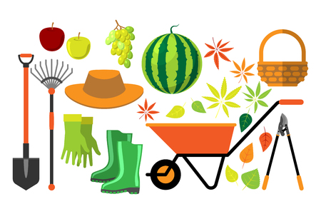 raking: Harvest flat vector set.