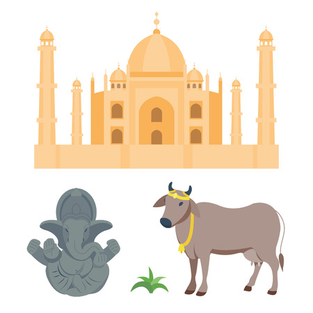 stupa: India taj mahal and budda elephant travel vector icons.
