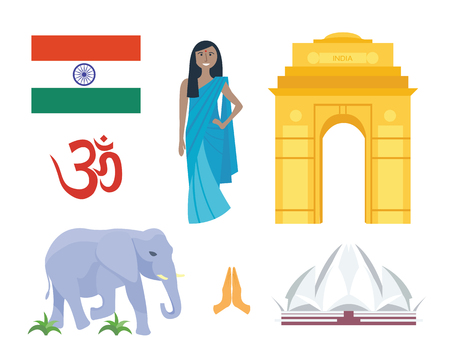 stupa: India travel vector icons.