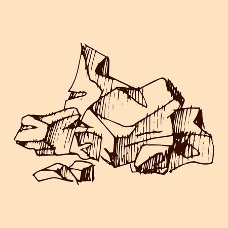 Broken chocolate bar cocoa hand drawn sketch illustration.