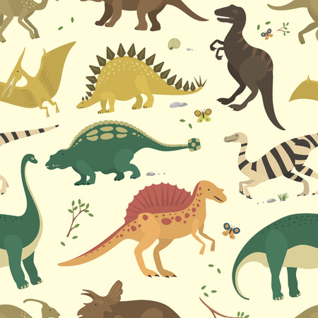 Dinosaur vintage color seamless pattern vector. Illustration
