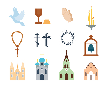 pastor: Religion icons vector illustration. Illustration