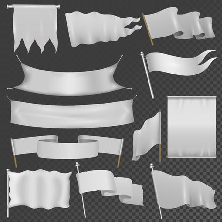 flag template: Realistik flag template blank isolated vector set. Illustration