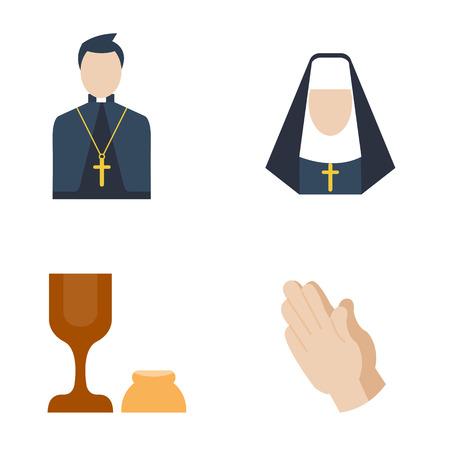 holy book: Catholic priest icon vector.