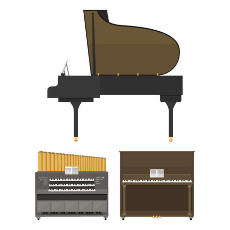 Keyboard musical instruments vector illustration. Иллюстрация