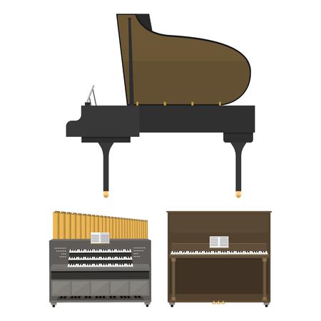 Keyboard muziekinstrumenten vector illustratie. Stock Illustratie