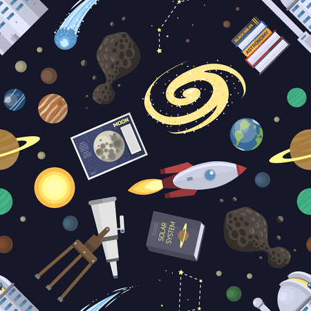 Astronomy icons stickers vector pattern