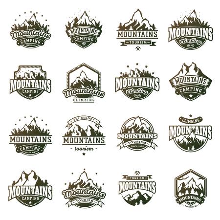 Mountain outdoor vector icons set Stock Illustratie