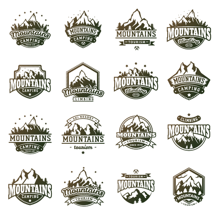 Mountain outdoor vector icons set Ilustracja