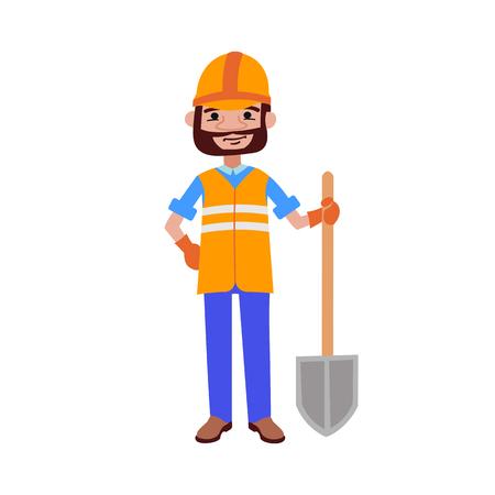 Road worker builder with shovel vector illustration.