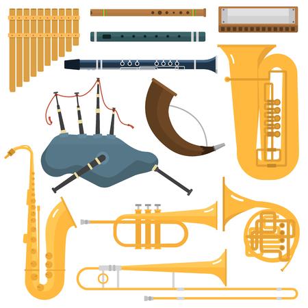 blare: Wind musical instruments vector.